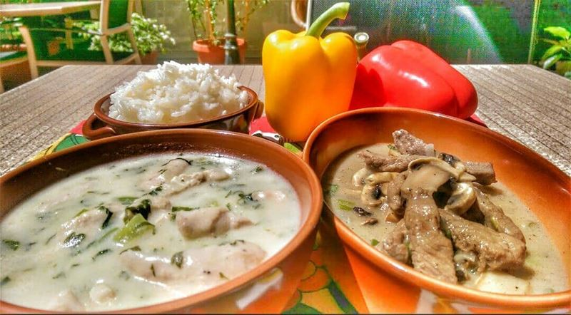 Creamy Lemon Chicken and Beef Stroganoff for lunch today at Em's! Give us... (Em's cuisine)