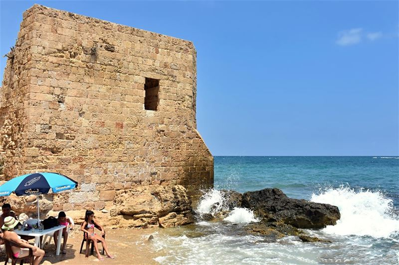 Sunbathing by the Old Fort fort  old  sour  tyr  tyre  lebanon  liban ... (Tyre, Lebanon)