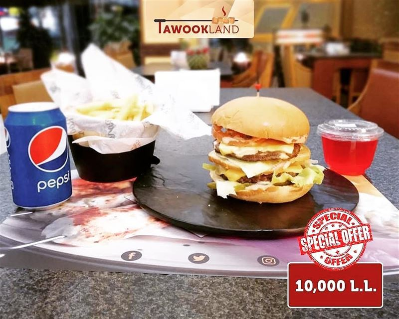 @tawookland -  New Offer‼️ Double Cheese Burger + Fries + Soft Drink +... (Tawookland)