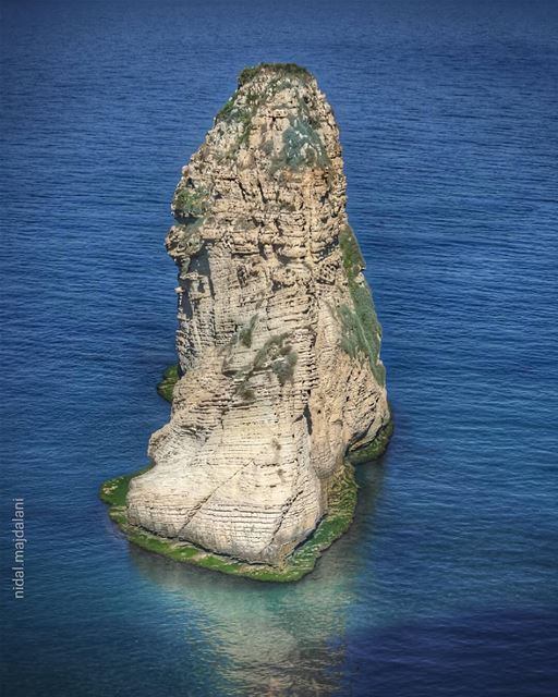 When even the Pigeon Rock blooms with different shades of green in the... (Raouche Rock , Beirut , Lebanon)