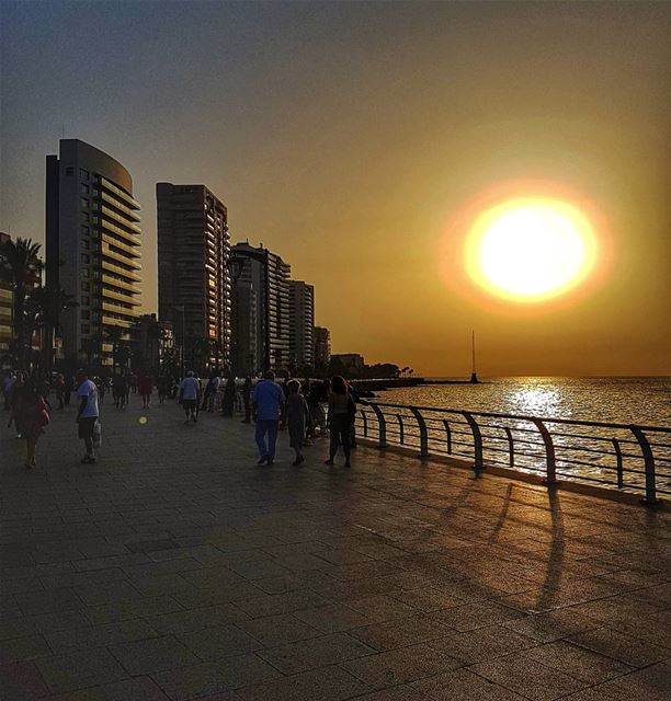 The big ball over the sea  sun  sunsetsky  sunset  livelovebeirut ... (Manara Beyrouth)