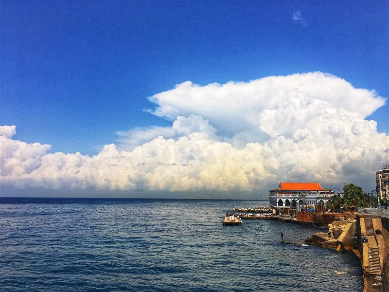 Majestic Beirut lebanon  lebanese  beirut  sea  old  house  sea  clouds ... (Beirut, Lebanon)