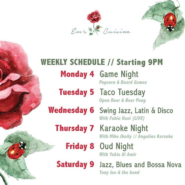 Em's weekly calendar. We've got you covered!For info and reservations ☎️... (Em's cuisine)