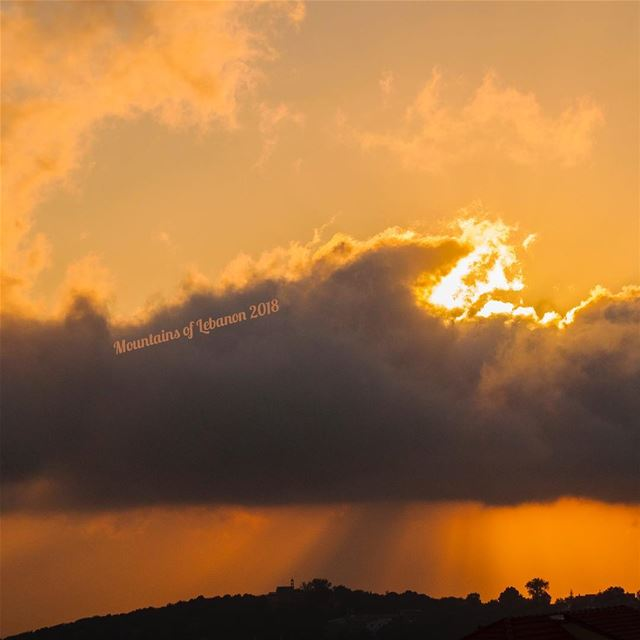 clouded summer sunset illuminating the church on top of the hill!(mar... (Rayfun, Mont-Liban, Lebanon)