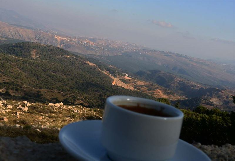 coffee + relax view + positive energy ..... Happy Monday coffeefirst ... (Rihâne, Al Janub, Lebanon)