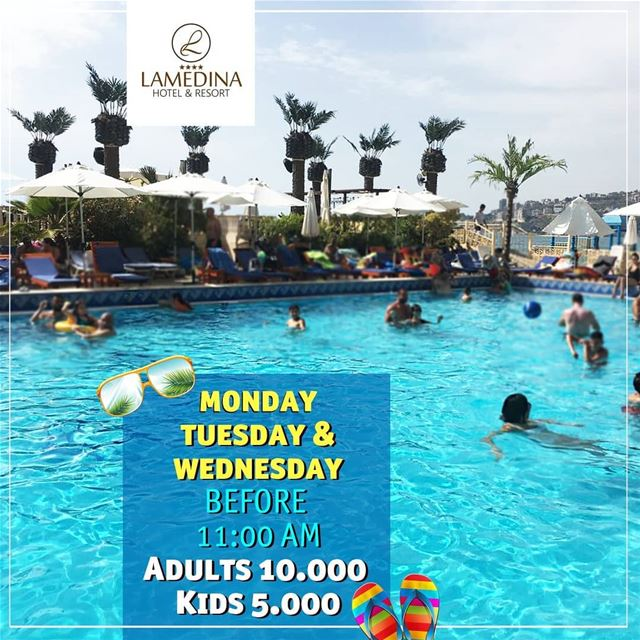 Pool & Beach entrance before 11 AM Adults 10.000 LL Kids 5.000 LL every...