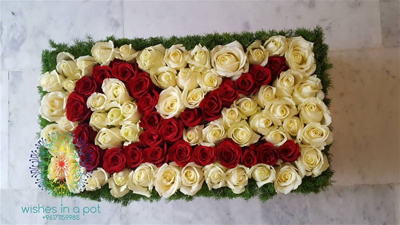 Initial  Red &  white  roses box for all your  occasions Order it now:...