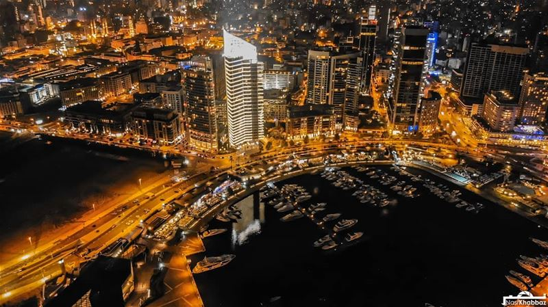 Goodnight from beirut 🌃 streetphotography  urban  aerialphotography ... (Beirut Waterfront)