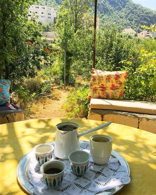 Coffee under the shade of the trees.... .. ramramcoffee ... (Douma, Liban-Nord, Lebanon)