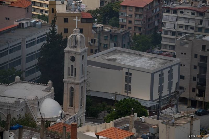 "On this  Sunday, from  Harissa, a snapshot with my 300mm of the Church ""No (Ghadir, Mont-Liban, Lebanon)"