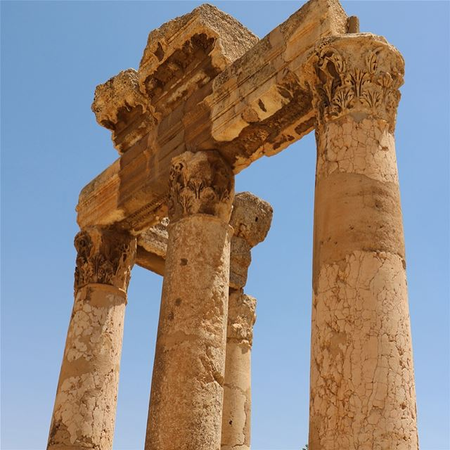 Baalbek ruins... swipe ➡️...As early as 9000 BC,  Baalbek was a place... (Baalbek, Lebanon)