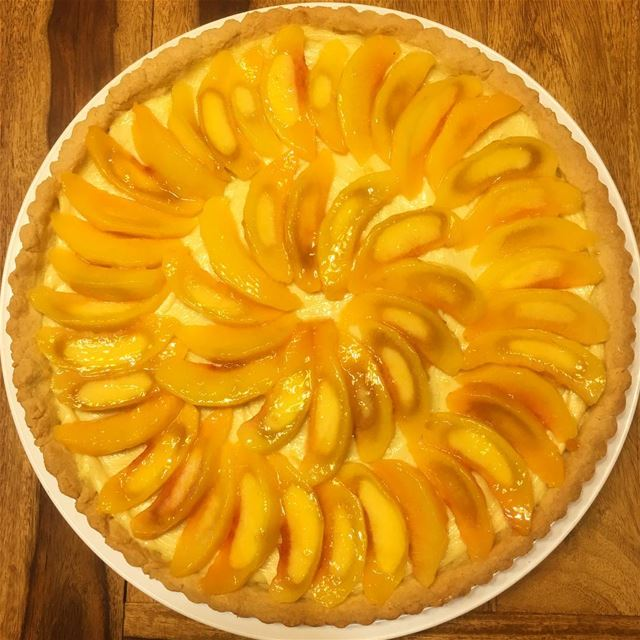 Today Was... Peachy 🍑. peach  summer  tart  pie  dessert  baking  baker... (Beirut, Lebanon)