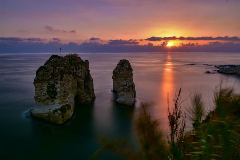 A view on beirut famous rocky formation called 'Al Rawshè' shot at sunset - (Ar Rawshah, Beyrouth, Lebanon)