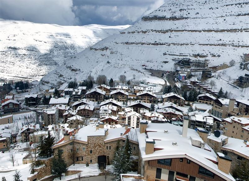 Oyoun el Siman Houses Covered in Snow (Panoramic View)