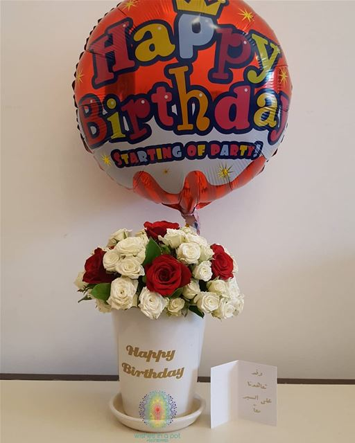 personalized ceramic  flower  pot and  balloon ☎️71159985 Wishesinapot...