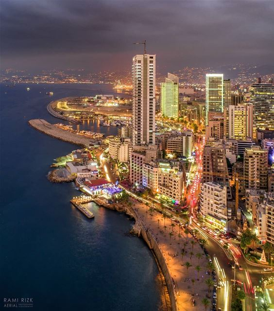The night is still young🌆...  beirut  city  lebanon  dji  drones ... (Ain El Mraysi)