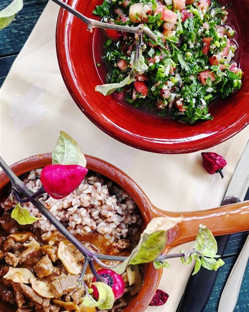 Beef stroganoff(150g) with buckwheat(100g) and tabbouleh(200g)-sample of... (Beirut, Lebanon)