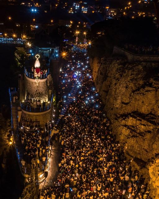 Our Lady Of Jezzine 💙🙏... jezzine  lebanon  dji  drones  quadcopter ... (The Lady of Maabour - Jezzine)