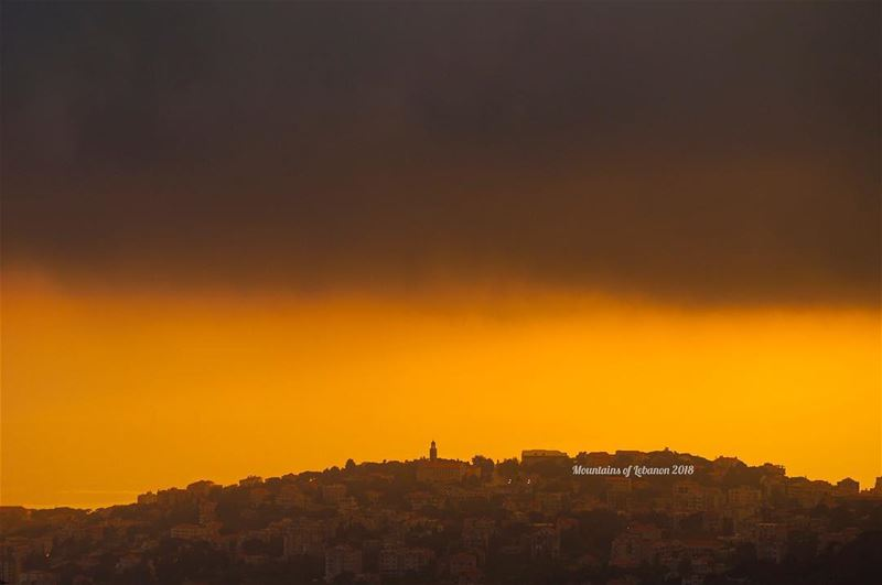 Another larger Church on the Hill...under a threatening rainy sky, at... (Ajaltoun, Mont-Liban, Lebanon)
