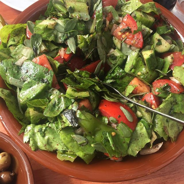 Lebanese food is the best 💚♥️Who never tasted  fattoush ?The...