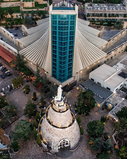 Virgin Glory 💙...  lebanon  jounieh  dji  drones  quadcopter  aerial ... (The Lady of Lebanon - Harissa)