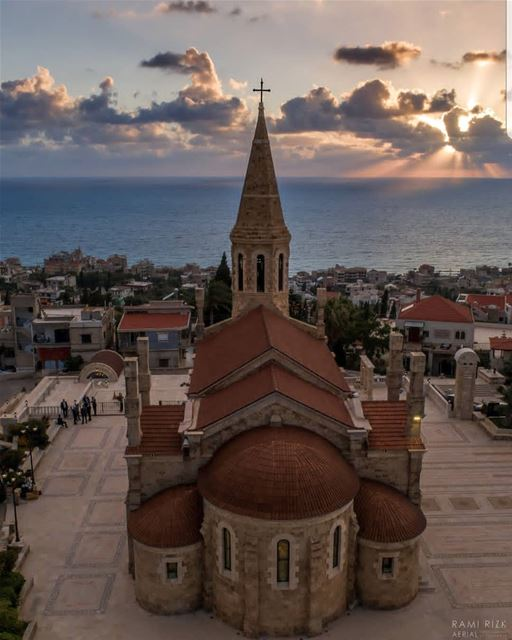 batroun  kfarabida  البترون_سفرة  church  sunset  mediterraneansea  sea ... (Kfar Abida)