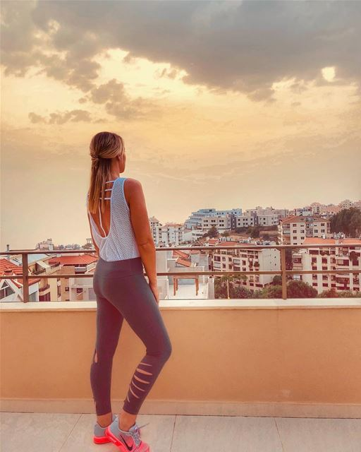 When your gym clothes match the sky ... helloautumn ... perfectmatch 🌅... (Lebanon)