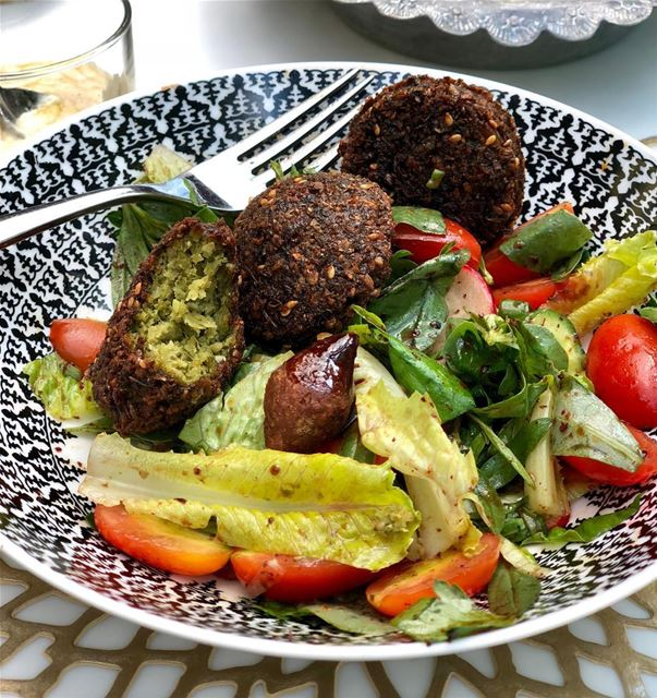 Falafel salad with a baby kibbeh landing in there @sursockmuseumresto ... (Sursock Museum Resto)