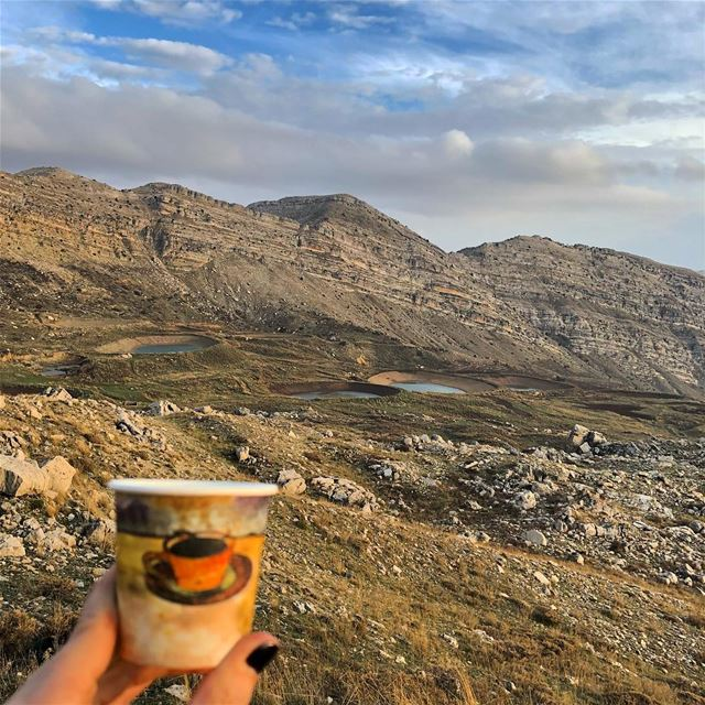 coffee with spectacular view of mountains..... ramramcoffee ... (El Laklouk, Mont-Liban, Lebanon)
