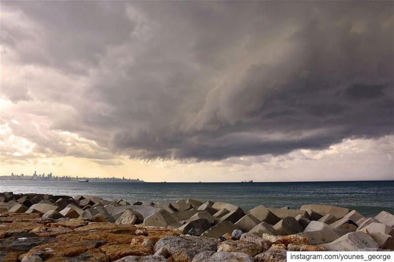 4 Ships under Heavy Skies and the City Bathed in SunlightSee more of my... (Dbayeh, Mont-Liban, Lebanon)