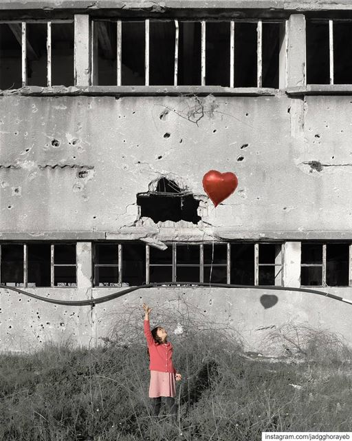 ~  GirlWithBalloon  Banksy ~... abandoned  abandonedplaces  shadow ... (Beirut, Lebanon)