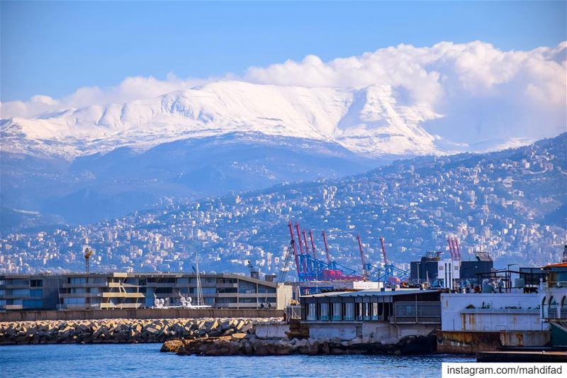 Beirut Morning Sea pysglb  mountains snow landscape nature clouds lebanon... (Ain El Mreisse, Beyrouth, Lebanon)