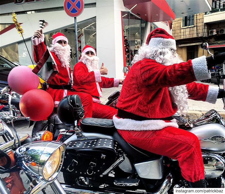 Good morning Beirut.   santaclaus  santa  christmas  bikers  beirut ...