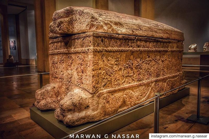 King Ahiram Sarcophagus..Also spelled Ahirom 𐤀𐤇𐤓𐤌a Phoenician king... (National Museum of Beirut)