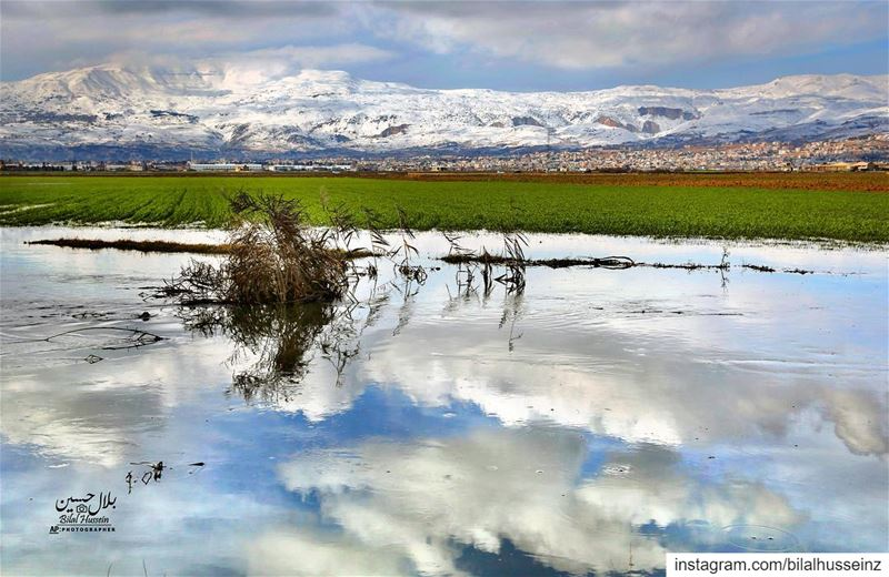 The flood of Litani River due to heavy rain. The western mountain range...