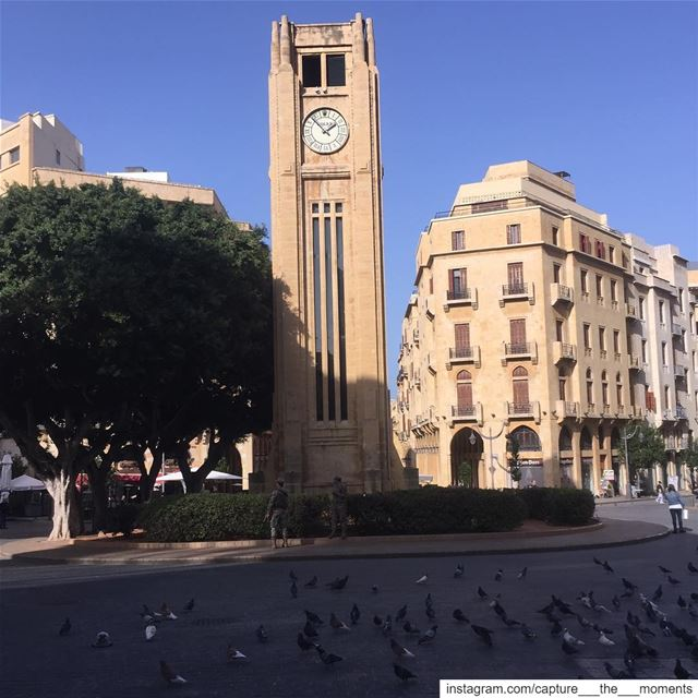 Hello From The Beautiful Beirut !  beirut  clock  trees  sky  clouds ... (Downtown Beirut)