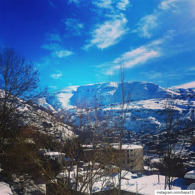 nature  white  snow  blue  sky  clouds  cold  nakedtrees  mountains ... (Faraya, Mont-Liban, Lebanon)