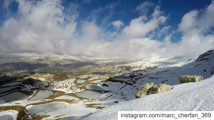 TimeLapse  TopView  Mountains  Lakes  Clouds  MovingClouds  Snow ... (Falougha, Mont-Liban, Lebanon)