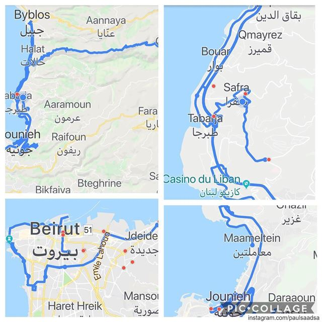 What I have done so far from Lebanon roads on google maps 300 km, the blue... (Lebanon)