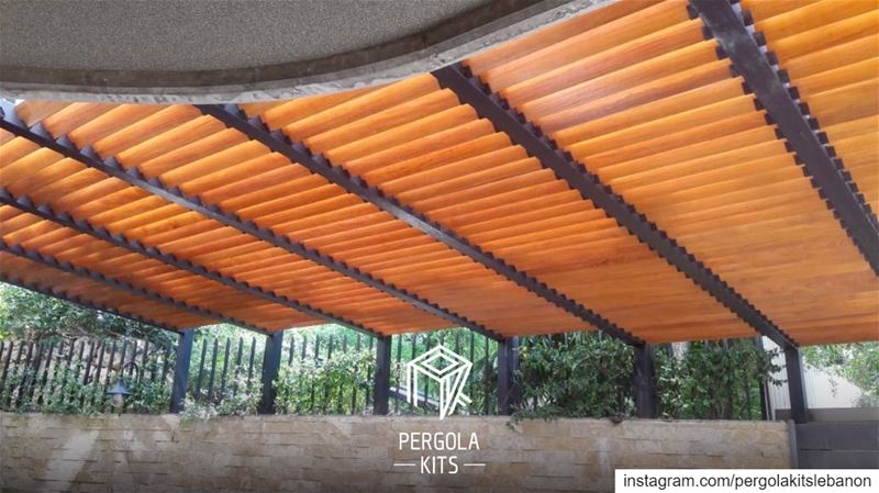 "Metal ""L Shape"" Structure Pergola with Wooden Louvers Roofing! ... (Sahel Aalma)"