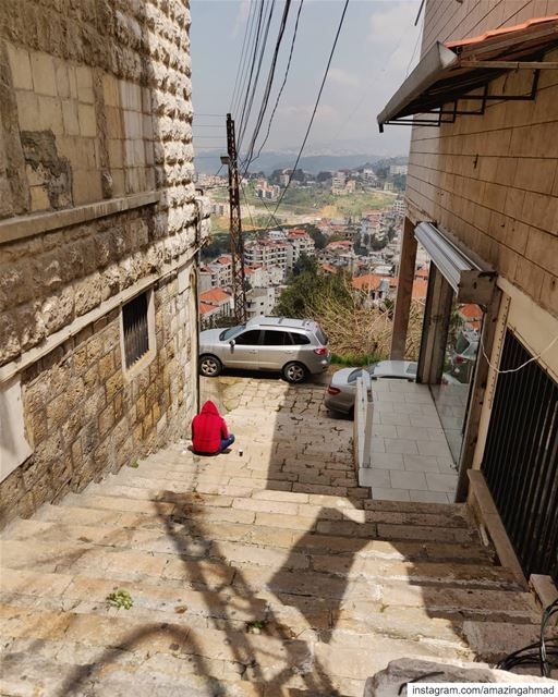 Respect to the guy at the bottom of the stairs who knows how to enjoy the... (Alley, Mont-Liban, Lebanon)