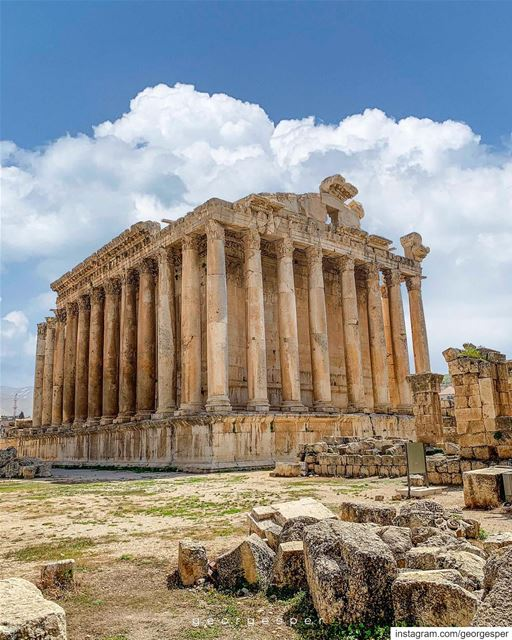 Temple of Bacchus ~the Roman god of wine~ standing at 31 m, is one of the... (Baalbek, Lebanon)