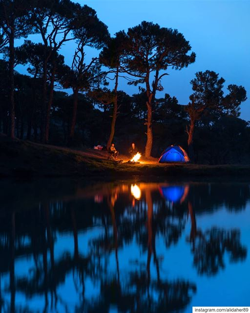 Weekend getaway ⛺💫...... Camping reflection landscape... (Falougha, Mont-Liban, Lebanon)