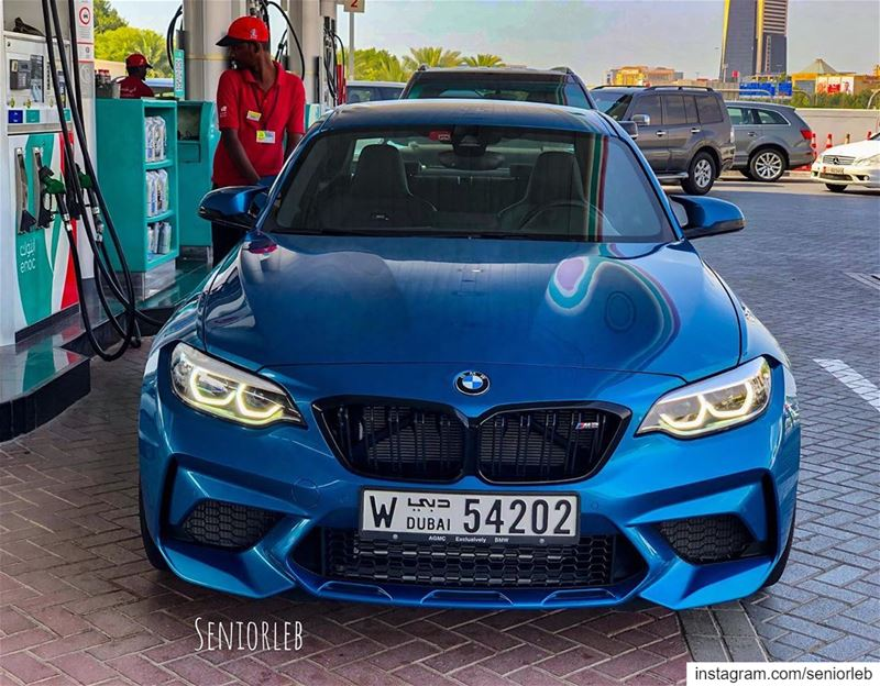 Filling up this BEAST 😈 The new BMW M2 LCI Competition Package 🔵🔴Ⓜ️ I'm... (Dubai, United Arab Emirates)