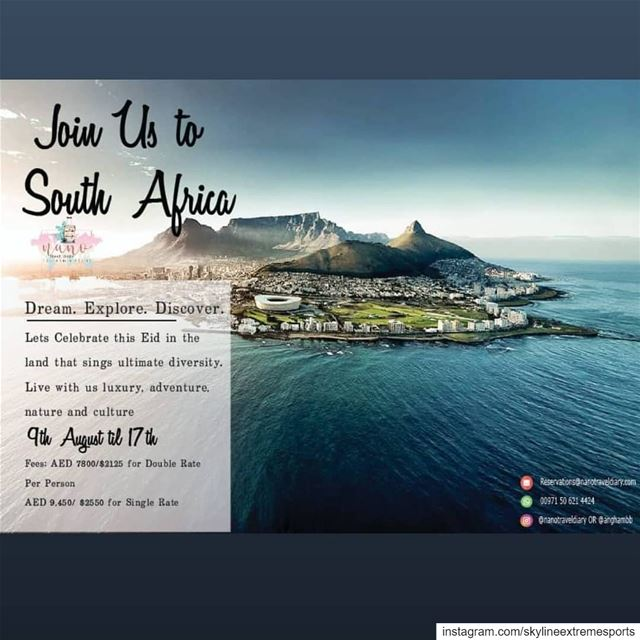 Join us to trip of a lifetime to South Africa this Adha Eid Holiday!!For...