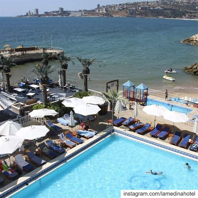 ☀️ Who's jumping in ? pool or beach ! 💦 Jounieh  Lebanon  LamedinaBeach ... (Joünié)