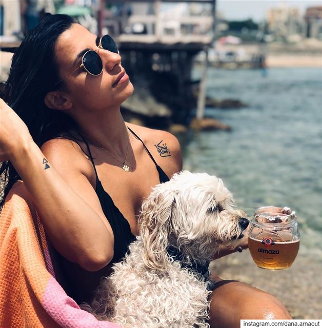 Just chillin with my good boy at the beach 🐶💘!.. summer  summervibes ... (Tyre, Lebanon)