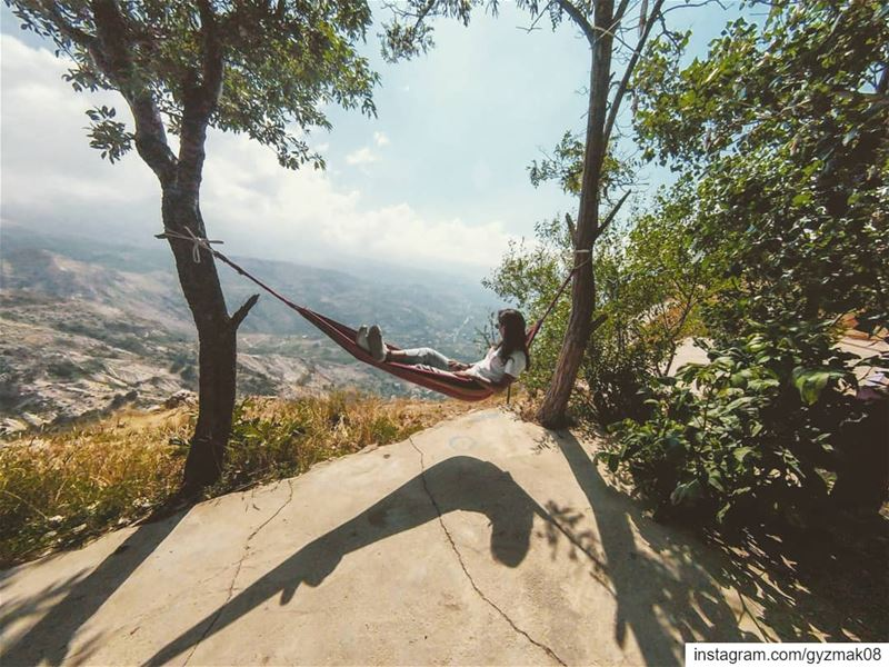 Hanging in there..... hammocklife  escape  getaway  nature ... (Becharre - Cedars)