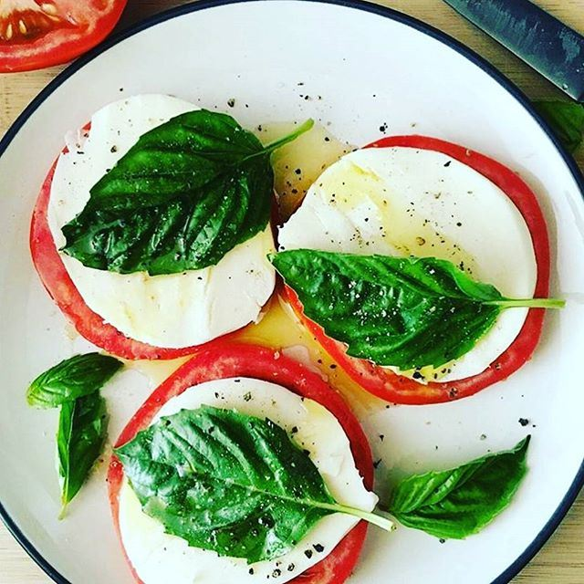 The perfect simple afternoon snack:  Mozzarella, Tomato and Garden picked basil