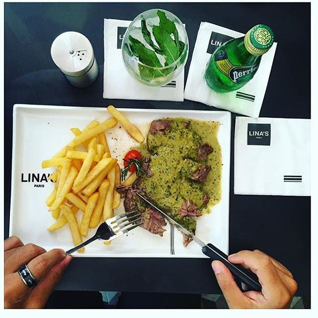 Enjoy your lunch and my recommendation for today is @linasleb a steak with French fries  (Lina's)